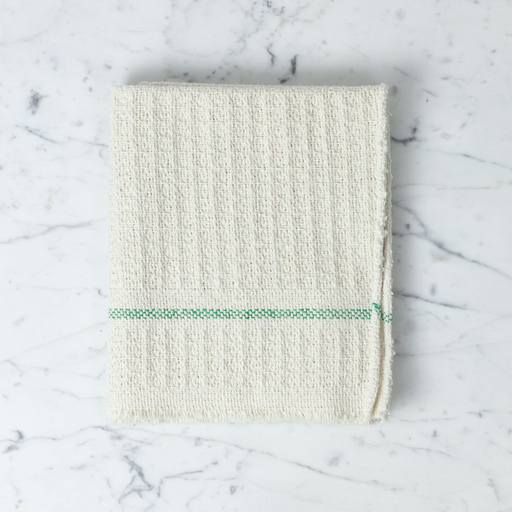 Iris Hantverk Swedish Recycled Cotton Waffle Weave Cleaning Dish Cloth with Green Stripe 22 x 18""