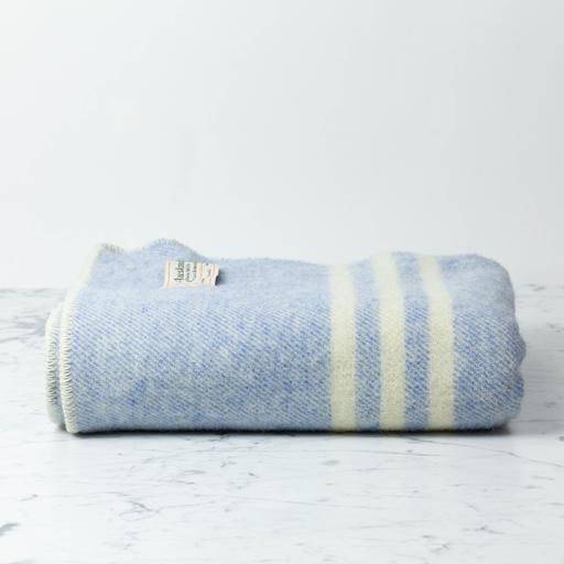 """MacAusland Wool Lap Blanket - Light Blue Tweed - 50 x 60"""""""