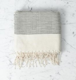 Creative Women Riviera Ribbed Bath Towel - Natural with Grey Stripe