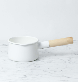 White Enamel Milk Pan Maple Handle