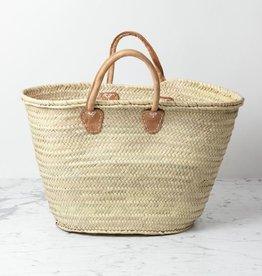 "Single Rolled-Leather Handle Market Basket - 22 x 18"""