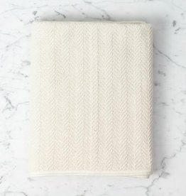 Fog Linen Herringbone Cotton Bath Towel - Large - Cream