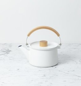 Saikai Toki White Enamel Kettle with Top Handle
