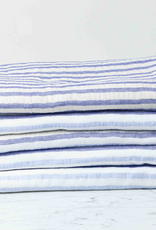 Linen Border Striped Bath Towel - Navy