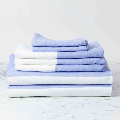 Two Tone Chambray Bath Towel - Blue/White - 25 x 51""