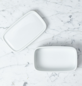 Saikai Toki Hakusan White Rectangle Dish with Lid