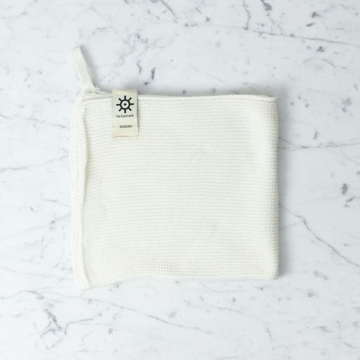 Iris Hantverk Swedish Knitted Cotton Hand Towel - White