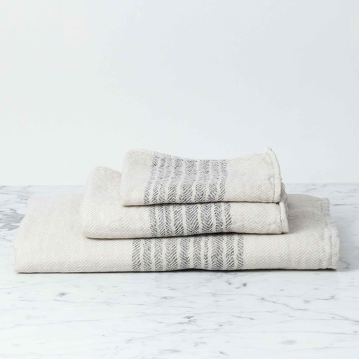 Flax Line Bath Towel - Brown and Beige