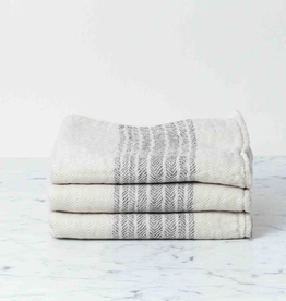 Flax Line Hand Towel - Brown + Beige - 33.5 x 13in
