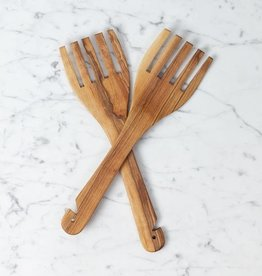 Olivewood Geometric Salad Fork Set with Notched Handle