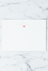 Letterpress Card and Envelope - Starry Hearts