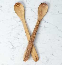 Olive Wood Salad Server Set - Extra Long Handle - 16""