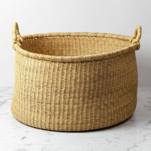 Swahili Imports Natural Woven Grass Floor Basket - Large