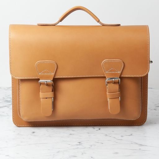 Ruitertassen Natural Leather Small Briefcase with Shoulder Strap