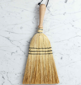 Rice Straw Hand Broom with Wood Handle - 17""