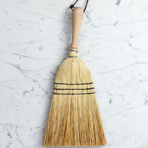 "Rice Straw Hand Broom with Wood Handle - 17"""