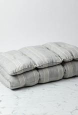 TENSIRA Handwoven Cotton Slim Cushion - Kapok Filling - Grey + White Thick Stripe - 24 x 48 in