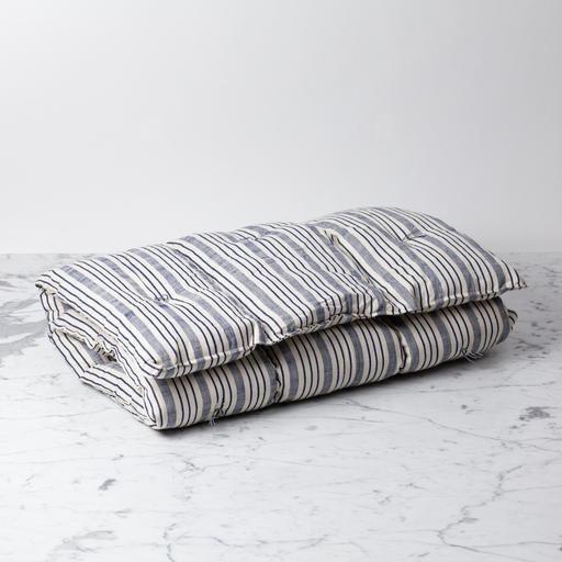 TENSIRA Handwoven Cotton Slim Cushion - Kapok Filling - Navy blue + Off White Thick Stripe - 24 x 48 in
