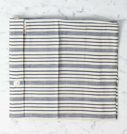TENSIRA Handwoven Cotton Pillowcase - Button Closure - Navy blue + Off White Thick Stripe -  24 x 24 in