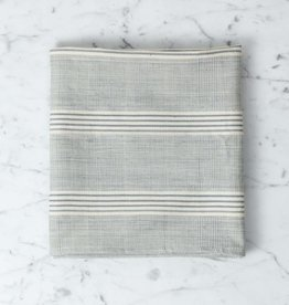 TENSIRA Handwoven Cotton Kitchen Towel - Grey + White Thick Stripe - 20 x 28 in