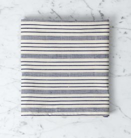 TENSIRA Handwoven Cotton Kitchen Towel - Navy blue + Off White Thick Stripe - 20 x 28 in