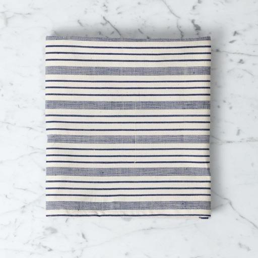TENSIRA Handwoven Cotton Kitchen Towel - Navy blue + Off White Thick Stripe  - 20 x 28\