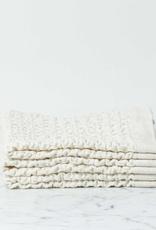 Japanese Lattice Waffle Washcloth - Cotton + Linen - Ivory