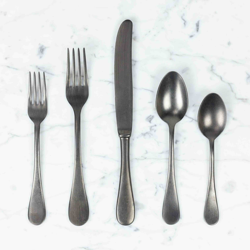 Italian Vintage Style 5 Piece Place Setting - Vintage Nero