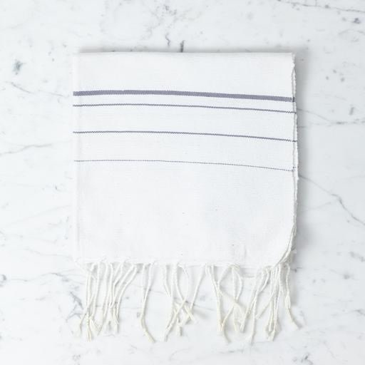 Abanja Bakkali Hand Towel - White with Grey Stripe