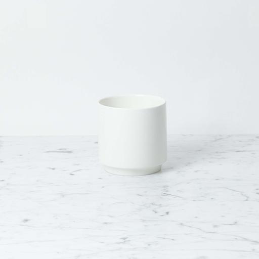 "Zangra Belgian Porcelain Squat Vase - White - 4"" x 4"""