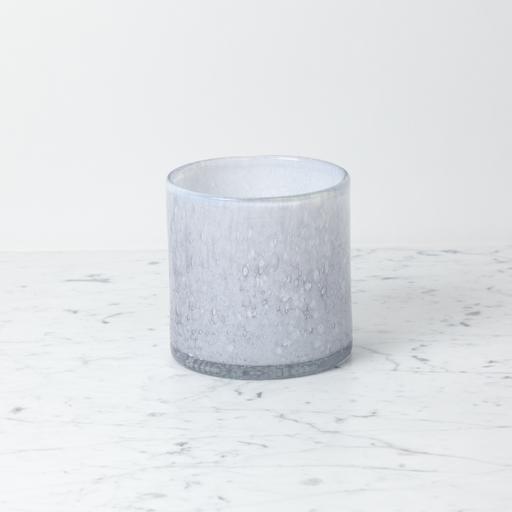 """Handblown Cylinder Vessel - Nebelung - Blue - 6"""""""