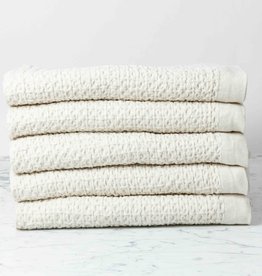 Japanese Lattice Waffle Bath Towel - Cotton + Linen - Ivory