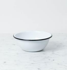 """Zangra Enamel Bowl - White - Medium - 6"""""""