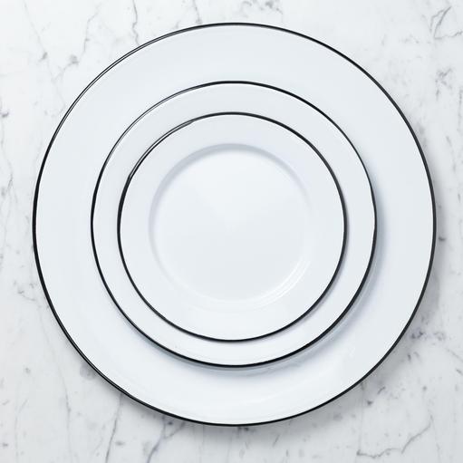 "Zangra Enamel Plate - White - Medium - 9 1/2"""
