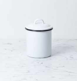 Zangra Enamel Storage Jar with Lid - White - Large - 4 3/4""