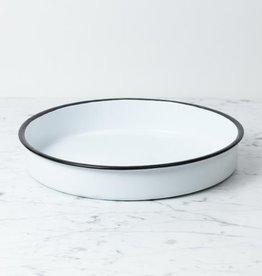 "Zangra Enamel Deep Round Dish - White - 12"" x 2"""