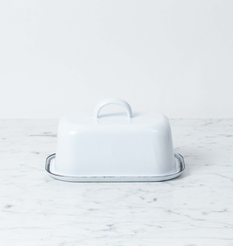 Enamel Tall Butter Dish - White