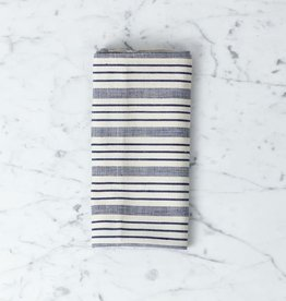 TENSIRA Handwoven Cotton Napkin - Navy blue + Off White Thick Stripe - 19 x 19 in