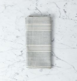 TENSIRA Handwoven Cotton Napkin - Grey + White Thick Stripe - 19 x 19 in