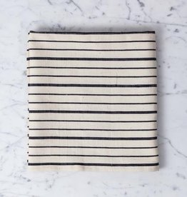 TENSIRA Handwoven Cotton Kitchen Towel - Off White with Bold Black Even Stripe - 20 x 28 in