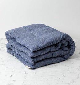 TENSIRA Handwoven Cotton Floor Cushion - Kapok Filling - Off White + Navy Blue Skinny Stripe - 38 x 38 in
