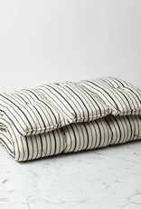 TENSIRA Handwoven Cotton Slim Cushion - Kapok Filling - Off White with Bold Black Even Stripe - 24 x 48 in