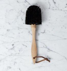 "German Beechwood Dish Brush with Wide Soft Horsehair Bristles - 10 1/2"""