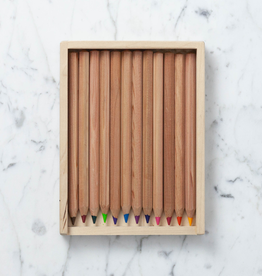 Colored Pencils in Wooden Pencil Case - Set of  12