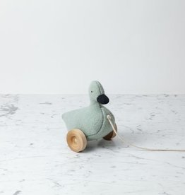 Ouistitine Handmade Soft Pull Along Duck with Wheels - Blue