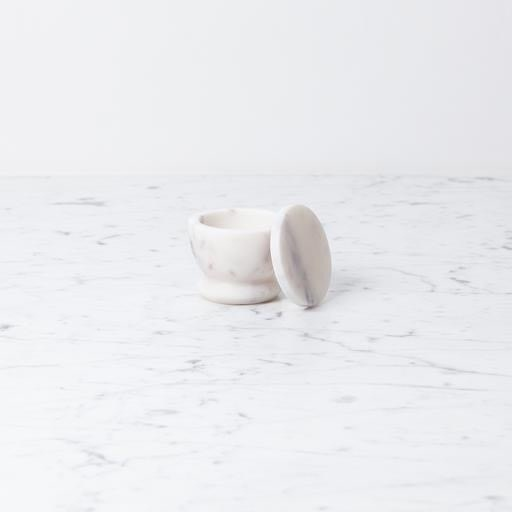 Simple Marble Salt Cellar with Lid - White