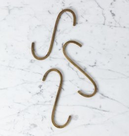 Oversized Rough Hewn Brass S Hook - 6