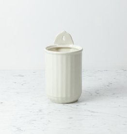 Sir Madam Fluted Wall Mounted Stoneware Vase or Utensil Holder - Cream - 5 x 6 3/4""