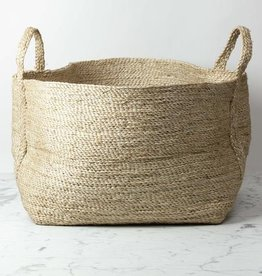 Natural Jute Rectangular Basket with Handles - 25 x 20""