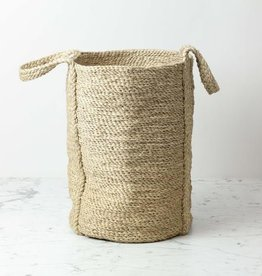 "Natural Jute Round Basket with Handles - 16"" x 12"
